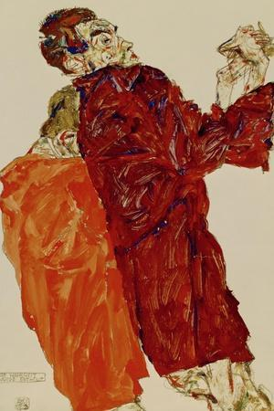 Truth Unveiled, 1913-Egon Schiele-Stretched Canvas Print