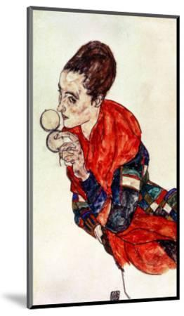 Portrait of the Actress Marga Boerner with Compact, 1917-Egon Schiele-Mounted Giclee Print