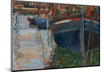 Boats Mirrored in the Water, 1908-Egon Schiele-Mounted Giclee Print