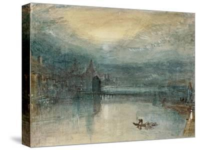 Lucerne by Moonlight: Sample Study, Circa 1842-3, Watercolour on Paper-J^ M^ W^ Turner-Stretched Canvas Print