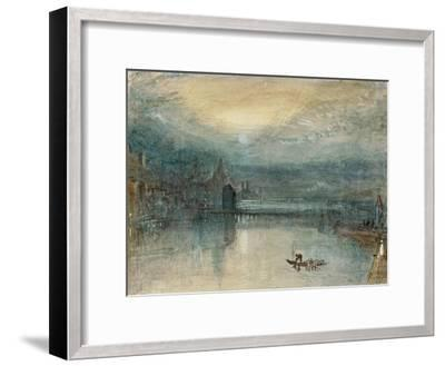 Lucerne by Moonlight: Sample Study, Circa 1842-3, Watercolour on Paper-J^ M^ W^ Turner-Framed Premium Giclee Print