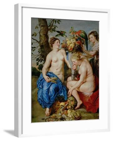 Ceres and Two Nymphs, Animals and Fruit by Snyders, Painted Between 1620-28-Peter Paul Rubens-Framed Giclee Print