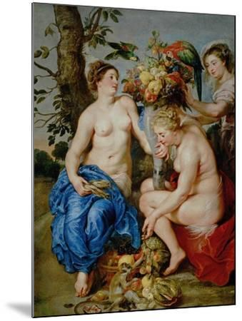 Ceres and Two Nymphs, Animals and Fruit by Snyders, Painted Between 1620-28-Peter Paul Rubens-Mounted Giclee Print
