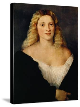 Young Woman in a Black Dress-Titian (Tiziano Vecelli)-Stretched Canvas Print