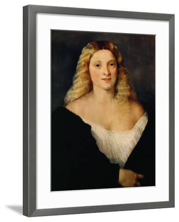 Young Woman in a Black Dress-Titian (Tiziano Vecelli)-Framed Giclee Print