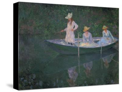 The Boat at Giverny (Or) the Norwegians, the Three Daughters of Mme. Hoschede-Claude Monet-Stretched Canvas Print