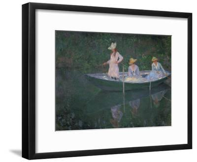 The Boat at Giverny (Or) the Norwegians, the Three Daughters of Mme. Hoschede-Claude Monet-Framed Giclee Print