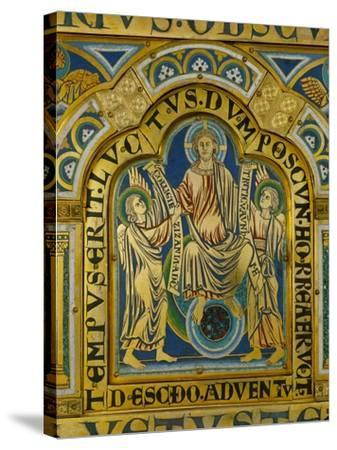The Second Coming, Christ Orders Two Angels to Begin the Partition of Souls-Nicholas of Verdun-Stretched Canvas Print