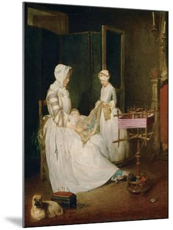 The Diligent Mother, 1740-Jean-Baptiste Simeon Chardin-Mounted Giclee Print