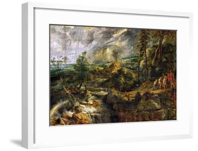 Landscape in a Thunderstorm, Philemon and Baucis, Jupiter and Mercury, circa 1620-Peter Paul Rubens-Framed Giclee Print