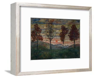 Four Trees, 1917-Egon Schiele-Framed Giclee Print