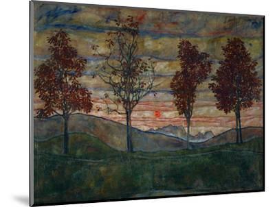 Four Trees, 1917-Egon Schiele-Mounted Giclee Print