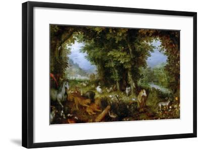 Earthly Paradise, 1607-1608-Jan Brueghel the Elder-Framed Giclee Print