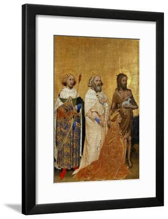 King Richard II (1367-1400) Kneeling in Front of King (Saint) Edmund and King Edward the Confessor--Framed Giclee Print