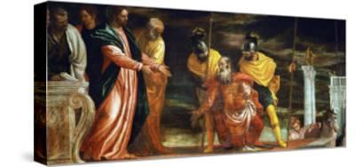The Centurion of Capernaum Who Begs Jesus to Heal His Paralyzed Servant-Paolo Veronese-Stretched Canvas Print