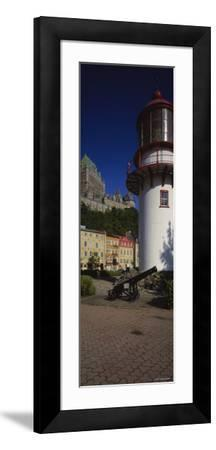 Canyon in Front of a Lighthouse, St. Lawrence River, Lower Town, Quebec City, Quebec, Canada--Framed Photographic Print