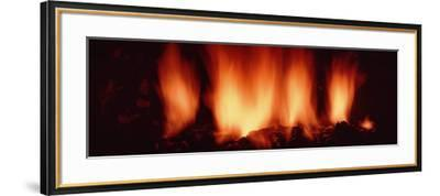 Fire in Fireplace--Framed Photographic Print