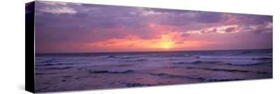 Cayman Islands, Grand Cayman, 7 Mile Beach, Caribbean Sea, Sunset over Waves--Stretched Canvas Print