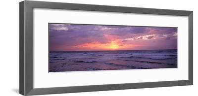 Cayman Islands, Grand Cayman, 7 Mile Beach, Caribbean Sea, Sunset over Waves--Framed Photographic Print