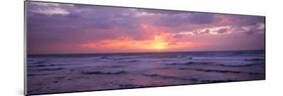 Cayman Islands, Grand Cayman, 7 Mile Beach, Caribbean Sea, Sunset over Waves--Mounted Photographic Print