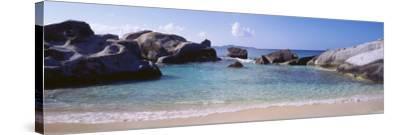 British Virgin Islands, Virgin Gorda, Rock on the Beach--Stretched Canvas Print