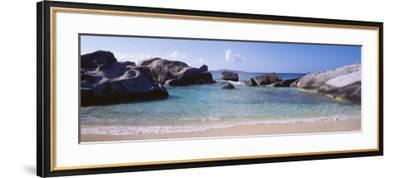British Virgin Islands, Virgin Gorda, Rock on the Beach--Framed Photographic Print