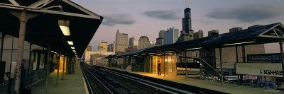 Person Standing on a Railroad Station Platform, Chicago, Illinois, USA--Framed Photographic Print