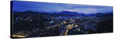 City at Dusk, Lucerne, Switzerland--Stretched Canvas Print
