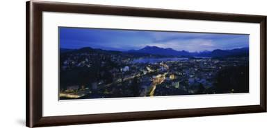City at Dusk, Lucerne, Switzerland--Framed Photographic Print