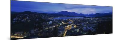 City at Dusk, Lucerne, Switzerland--Mounted Photographic Print