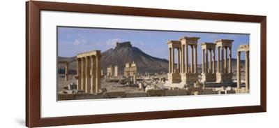 Colonnades on an Arid Landscape, Palmyra, Syria--Framed Photographic Print
