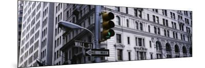 Traffic Light in Front of a Building, Wall Street, New York, USA--Mounted Photographic Print