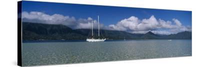 Sailboat in a Bay, Kaneohe Bay, Oahu, Hawaii, USA--Stretched Canvas Print