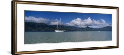 Sailboat in a Bay, Kaneohe Bay, Oahu, Hawaii, USA--Framed Photographic Print