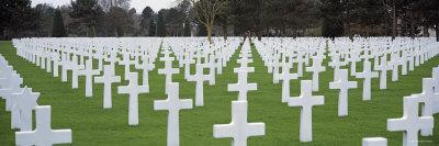 Rows of Tombstones in a Cemetery, American Cemetery, Normandy, France--Framed Photographic Print