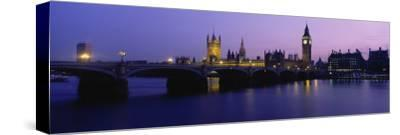 Buildings Lit Up at Dusk, Big Ben, Houses of Parliament, London, England--Stretched Canvas Print