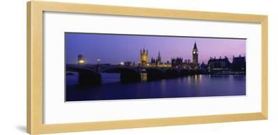 Buildings Lit Up at Dusk, Big Ben, Houses of Parliament, London, England--Framed Photographic Print