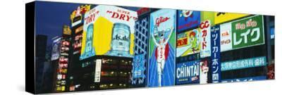 Billboards Lit Up at Night, Dotombori District, Osaka, Japan--Stretched Canvas Print