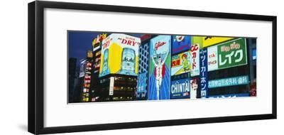 Billboards Lit Up at Night, Dotombori District, Osaka, Japan--Framed Photographic Print