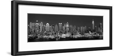 West Side Skyline at Night in Black and White, New York, USA--Framed Photographic Print