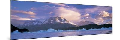 Cloudy Sky over Mountains, Lago Grey, Torres del Paine National Park, Patagonia, Chile--Mounted Photographic Print