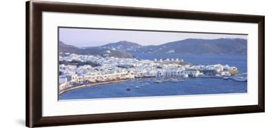 Town on the Waterfront, Mykonos Harbor, Cyclades Islands, Greece--Framed Photographic Print