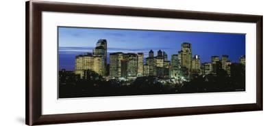Buildings Lit Up at Dusk, Calgary, Alberta, Canada--Framed Photographic Print
