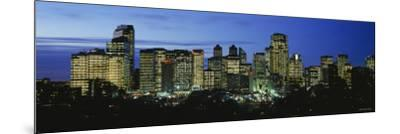 Buildings Lit Up at Dusk, Calgary, Alberta, Canada--Mounted Photographic Print