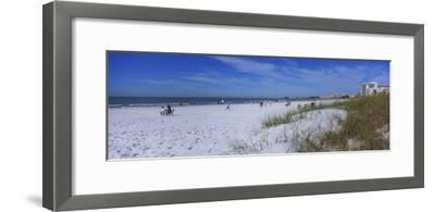 Tourists on the Beach, Crescent Beach, Gulf of Mexico, Siesta Key, Florida, USA--Framed Photographic Print
