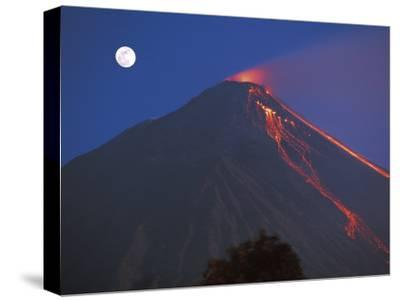 Siau Volcano Erupting with Moon Behind, N Sulawesi, Indonesia-Jurgen Freund-Stretched Canvas Print