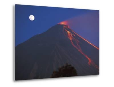 Siau Volcano Erupting with Moon Behind, N Sulawesi, Indonesia-Jurgen Freund-Metal Print