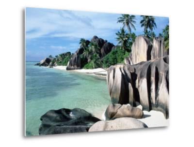 Rocky Coast and Beach, La Digue, Anse Source D'Argent, Seychelles-Reinhard-Metal Print