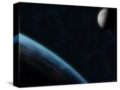 Earth and the Moon-Stocktrek Images-Stretched Canvas Print