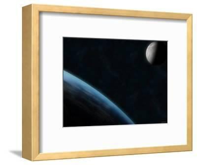 Earth and the Moon-Stocktrek Images-Framed Photographic Print